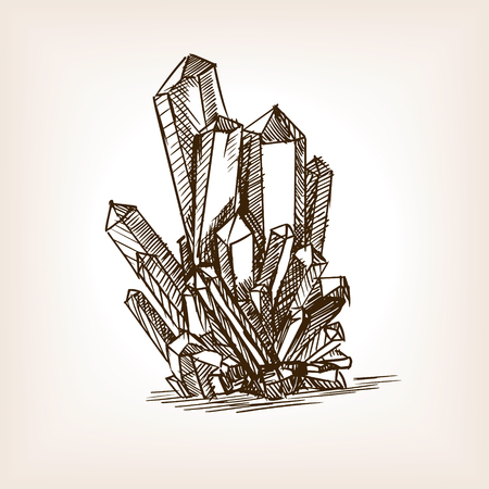rough draft: Crystals sketch style vector illustration. Old engraving imitation.