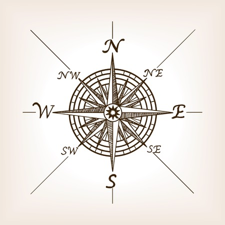 Compass rose sketch style vector illustration. Old engraving imitation. Çizim
