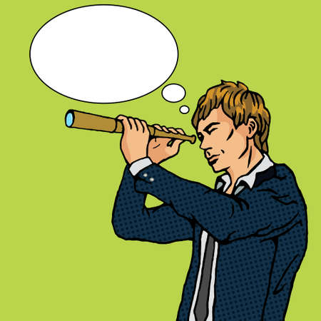 farsighted: Man and telescope cartoon pop art vector illustration. Human comic book vintage retro style.