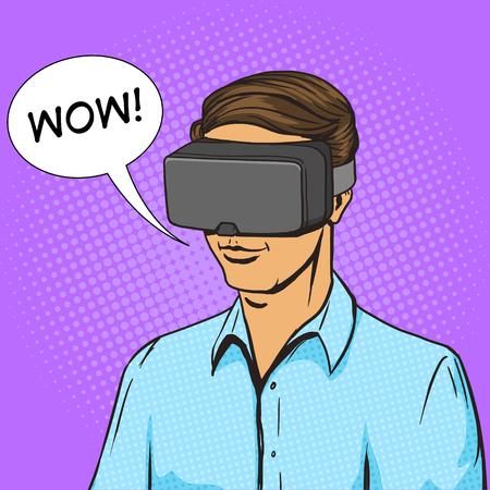 Man et virtuel lunettes de réalité pop cartoon art vecteur illustration. Human bande dessinée rétro style vintage.