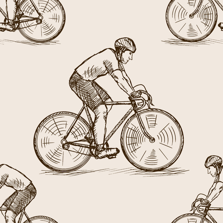 obsolete: Bicycle racer man sketch style seamless pattern vector illustration. Old hand drawn engraving imitation. Illustration