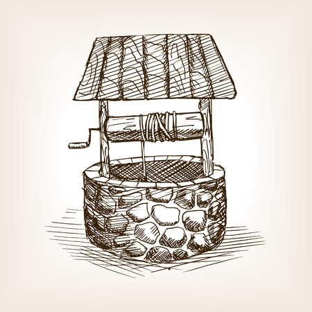 rough draft: Rustic well sketch style vector illustration. Old engraving imitation.
