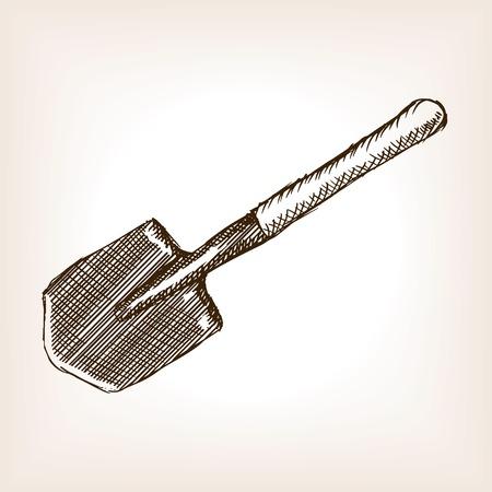 military draft: Sapper shovel sketch style vector illustration. Old engraving imitation. Illustration