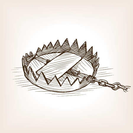 rough draft: Trap sketch style vector illustration. Old engraving imitation. Illustration