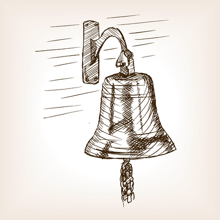 rough draft: Ship bell sketch style vector illustration. Old engraving imitation.