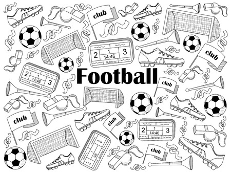 vuvuzela: Football design colorless set vector illustration. Coloring book. Black and white line art