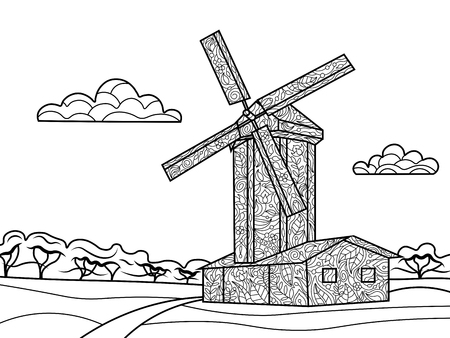 wind mill: Wind mill coloring book for adults vector illustration. Black and white lines. Lace pattern