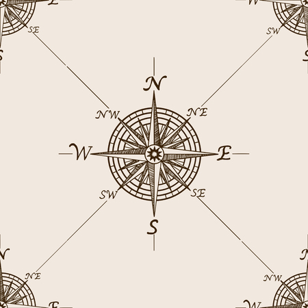 Compass rose sketch style seamless pattern vector illustration. Old engraving imitation.