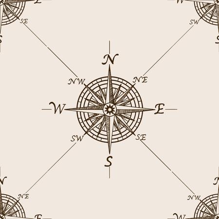 Windroos schets stijl naadloos patroon vector illustratie. Oude gravure imitatie. Stock Illustratie