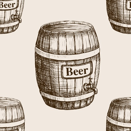 rough draft: Barrel of beer sketch style seamless pattern vector illustration. Old engraving imitation.