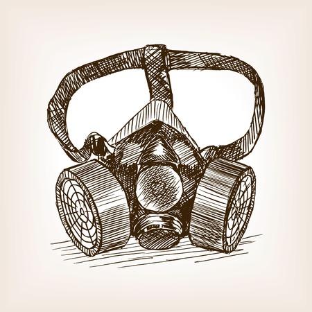 Respirator sketch style vector illustration. Old engraving imitation.