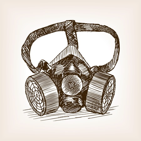 respirator: Respirator sketch style vector illustration. Old engraving imitation. Illustration