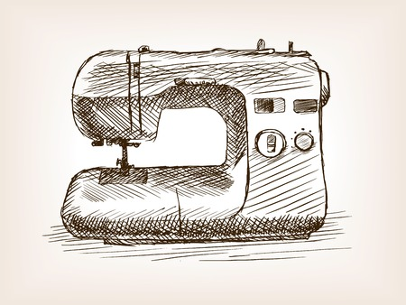 rough draft: Sewing machine sketch style vector illustration. Old engraving imitation.