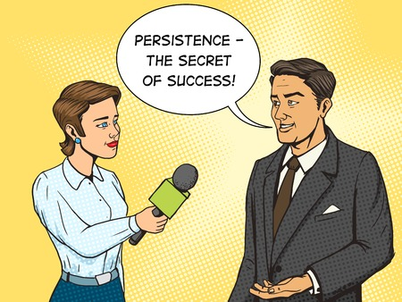telecast: Woman reporter interviewing a man cartoon pop art vector illustration. Human comic book vintage retro style.