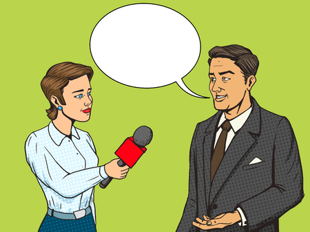 Woman reporter interviewing a man cartoon pop art vector illustration. Human comic book vintage retro style.