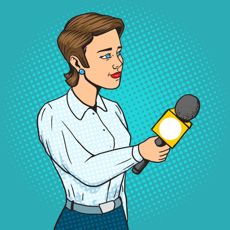 telecast: Woman reporter with microphone cartoon pop art vector illustration. Human comic book vintage retro style. Illustration
