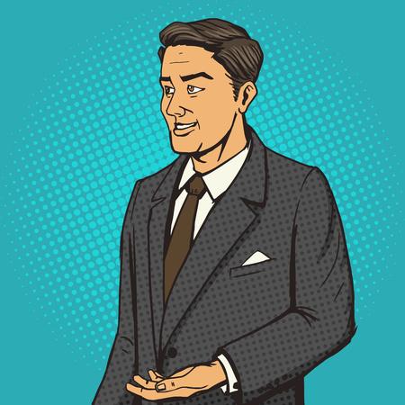 well dressed: Man in a business suit speaks cartoon pop art vector illustration. Human comic book vintage retro style. Illustration