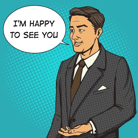 business suit: Man in a business suit speaks cartoon pop art vector illustration. Human comic book vintage retro style. Illustration