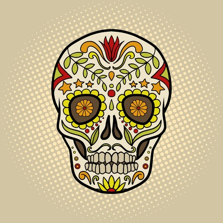 attribute: Human skull with patterns cartoon pop art vector illustration. Conceptual vintage retro style. Mexican Day of the Dead attribute Illustration