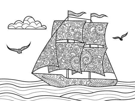 Sailing ship coloring book for adults vector illustration. Black and white lines. Lace pattern
