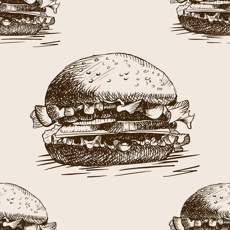 retro backgrounds: Burger sandwich sketch style seamless pattern vector illustration. Hand drawn sketch imitation Illustration