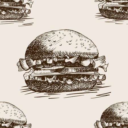 rough draft: Burger sandwich sketch style seamless pattern vector illustration. Hand drawn sketch imitation Illustration