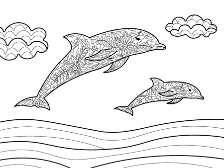 adults: Dolphins coloring book for adults vector illustration.
