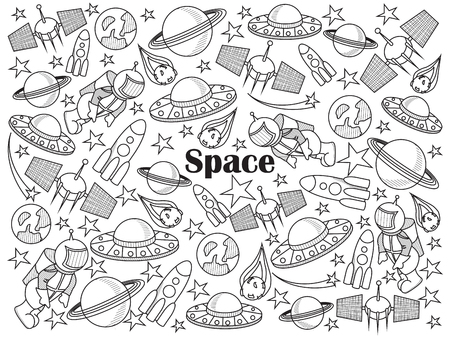 colorless: Space design colorless set vector illustration. Coloring book. Black and white line art Illustration