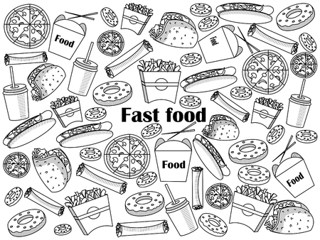 excess: Fast food  design colorless set vector illustration. Coloring book. Black and white line art