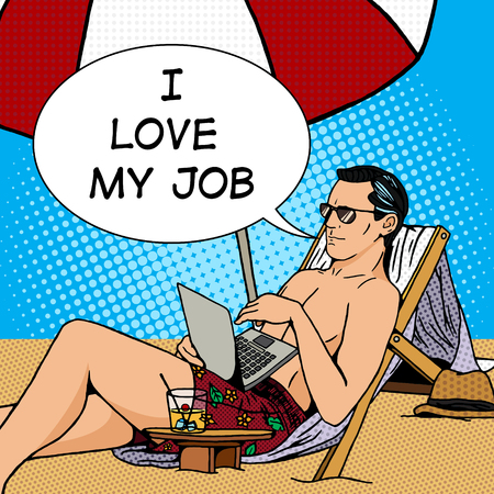 Man travail sur la plage avec un ordinateur portable. Cartoon pop art vecteur illustration. Human bande dessinée rétro style vintage.