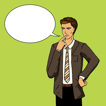 Businessman thinking. Cartoon pop art vector illustration. Human comic book vintage retro style. Stock Illustratie