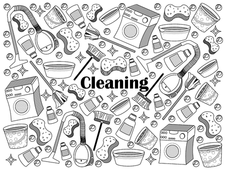 colorless: Cleaning design colorless set vector illustration. Coloring book. Black and white line art