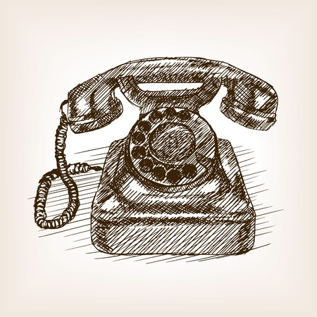 rough draft: Old phone sketch style vector illustration. Old engraving imitation. Illustration