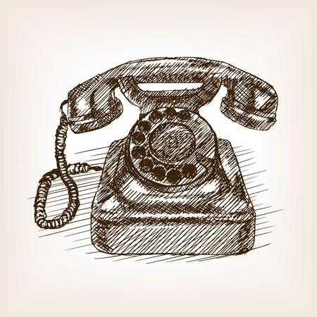 Vieux téléphone croquis style vecteur illustration. Ancienne gravure imitation.