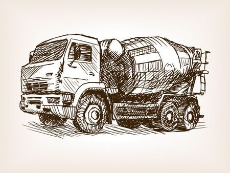 Concrete mixer truck sketch style vector illustration. Old engraving imitation.
