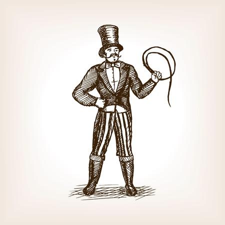 Circo ilustración vectorial estilo de dibujo entrenador de animales. Vieja mano dibuja la imitación de grabado. Ilustración de vector