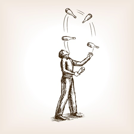 juggler: Juggler man sketch style vector illustration. Old hand drawn engraving imitation. Illustration