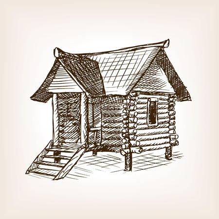 wooden hut: Wooden hut sketch style vector illustration. Old engraving imitation. Illustration