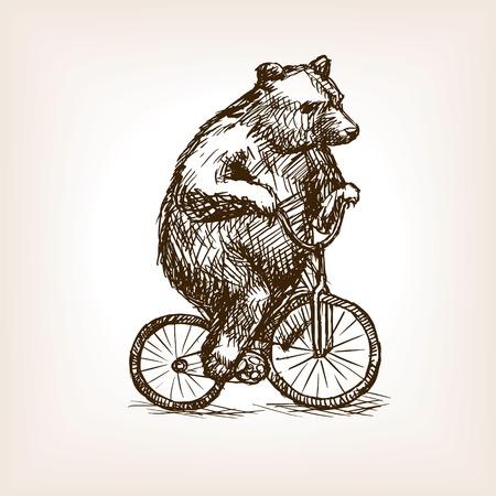 ours de cirque sur le croquis de vélos style vecteur illustration. Ancienne gravure imitation. Illustration