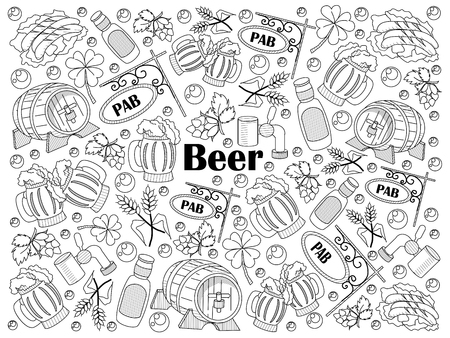 colorless: Beer design colorless set vector illustration. Coloring book. Black and white line art
