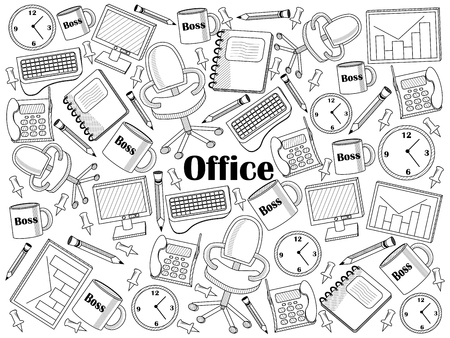 colorless: Office design colorless set vector illustration. Coloring book. Black and white line art