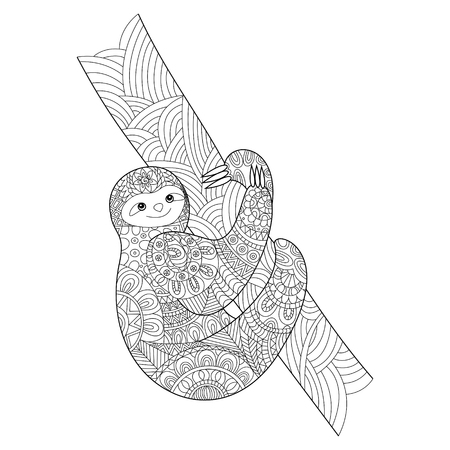 adults: Sloth coloring book for adults vector illustration.