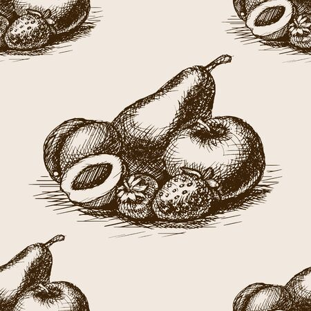 rough draft: Fruits sketch style seamless pattern vector illustration. Old engraving imitation. Hand drawn sketch imitation