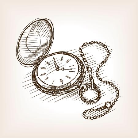 Old pocket clock sketch style vector illustration. Old engraving imitation.