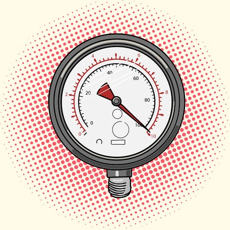 high scale: Manometer measuring device cartoon pop art vector illustration. Vintage retro style.