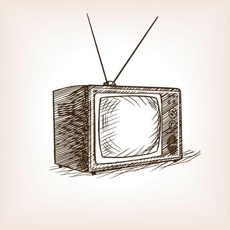 tv set: TV set sketch style vector illustration. Old hand drawn engraving imitation.