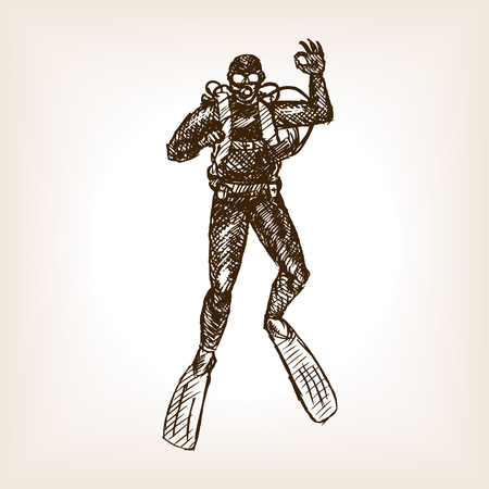 Diver sketch style vector illustration. Old hand drawn engraving imitation.