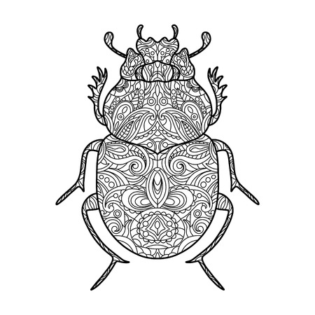 scarab: Scarab beetle coloring book for adults vector illustration.