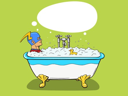 Superhero takes a bath. Cartoon pop art vector illustration. Human comic book vintage retro style.
