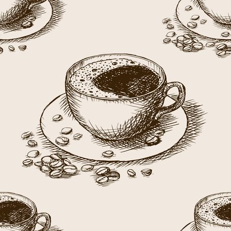 rough draft: Cup of coffee with coffee beans sketch style seamless pattern vector illustration. Old engraving imitation.